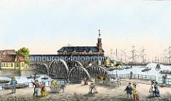 Historische Ansicht / Hamburgensie vom Kehrwieder in Hamburg; der Uhrenturm vom Kaiserspeicher ragt über die Dächer.