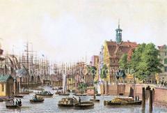 Colorierte Hamburgensie vom Hamburger Hafen  am Baumwall; beladene Schuten und Ruderboote.