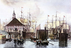 Historische Darstellung vom Blockhaus am Hamburger Niederhafen; nachts wurde dort die Zufahrt zum Binnenhafen gesperrt.