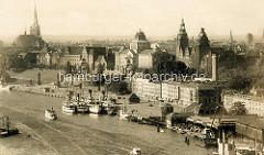 Historisches Panorama von der Hakenterrasse und der Flusspromenade in Stettin.