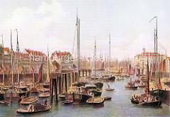 Blick in den Hamburger Binnenhafen um 1870; Frachtsegler liegen an den Dalben,  hochbeladene Schuten fahren durch das Hafenbecken.