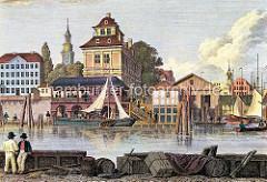 Kolorierte Darstellung vom Baumhaus am Baumwall am Hamburger Niederhafen / Binnenhafen.