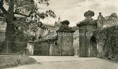 Alte Fotografie vom Eingang und den Schlossmauern in Dessau.