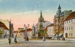 Historische kolorierte Fotografie vom kleinen Markt in Dessau.