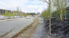 Alte Bahnschienen - Weiche am Gedenkort Hannoverscher Bahnhof in der Hamburger Hafencity.