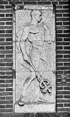 Steinreliefs an der Fassade vom Empfangsgebäude Bahnhof Bremerhaven Lehe.