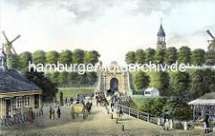 Historische Ansicht vom Millerntor - lks. die Wache mit Wachposten; der Schlagbaum ist geöffnet.
