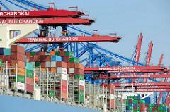 Containerkräne über einem Containerfrachter am Container Terminal Burchardkai im Waltershofer Hafen von Hamburg.
