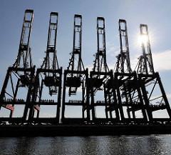 Hochgeklappte Containerkräne am Container Terminal Eurokai im Hamburger Hafen - Waltershof; Gegenlichtaufnahme.