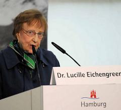 Rede von Dr. Lucille Eichengreen auf dem Festakt zur Einweihung Gedenkort Hannoverscher Bahnhof.