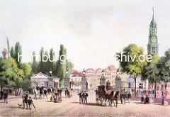 Das Hamburger Millerntor um 1860 - ehem. Grenze zwischen Hamburg und der Stadt Altona/Elbe - Reiter, Pferdekutsche und Passanten.