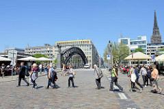 Sommer in der Hansestadt Hamburg - Touristen in der Hamburger Speicherstadt, im Hintergrund die Brooksbrücke über den Zollkanal.