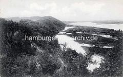 Historische Ansicht vom Lauf der Elbe bei Hitzacker; Blick von den Elbhöhen auf den unbegradigten Lauf des Flusses.