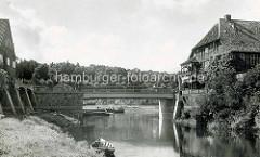 Alte Fotografie von der Brücke über die Jeetzel / Drawehnertorbrücke in Hitzacker / Elbe.