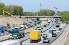 Baustelle an der Autobahn in Hamburg Eidelstedt, Verkehr / Stau am Dreieck Hamburg Nordwest.
