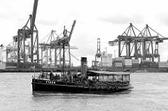 Historischer Dampfschlepper Tiger, gebaut 1910 - Liegeplatz Museumshaven Oevelgönne; im Hintergrund Containerkräne, Containerbrücken vom Terminal Burchardkai.