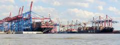 Containerschiffe im Hamburger Hafen - Hafenbecken Waltershofer Hafen; lks. das Container Terminal Burchardkai, lks. EUROGATE.