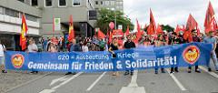 Transparent: G20 = Ausbeutung & Kriege; Gemeinsam für Frieden & Solidarität.