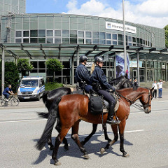 Pferde mit PolizistInnen als ReiterIn sichern die Hamburger Messehallen vor ProtestlerInnen.