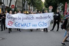 Demonstration Welcome to Hell - Transparent Gegen die politisch motivierte Gewalt der G20.