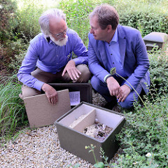 Der Hamburger Umweltsenator Jens Kerstan besucht die neu angesiedelten Hummelvölker auf dem Dach der Behörde für Stadtentwicklung und Umwelt (BSU); der Imker sowie Wespen-,Hummel- und Hornissennestumsetzer Bent Schubert zeigte dem Senator einen Humme