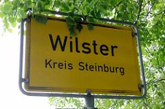 Ortsschild von Wilster, Kreis Steinburg.