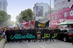 Transparent Alles Allen - Lieber tanz ich als G 20 - Tanzdemo mit Techno-Musik und bunten Anti G20 Schildern; ca. 20 000 Teilnehmer*Innen.
