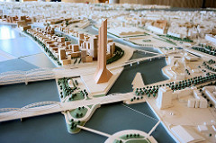 Das Stadtmodell Hamburg steht im Foyer der Behörde für Stadtentwicklung und Umwelt in der Neuenfelder Straße von Hamburg Wilhelmsburg.