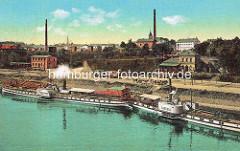 Altes Bild von der Dampferanlegerstelle in Riesa / Elbe - Pferdefuhrwerke / Güterwaggons auf der Kaistraße.