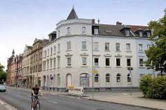 Alte Wohnhäuser - Gründerzeitarchitektur am Friedrich-Ebert-Platz in Riesa.
