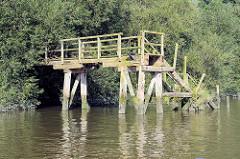 Alte Holztreppe / Wassertreppe am Prager Ufer im Hamburger Moldauhafen - das Ufer ist dicht mit Gebüsch und Weiden bewachsen.