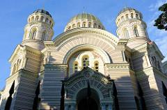 Geburtskathedrale in der lettischen Hauptstadt Riga (Rīgas Kristus Piedzimšanas pareizticīgo katedrāle) der Russisch-Orthodoxen Kirche; erbaut 1883 im neobyzantinischen Stil- Architekt Robert Pflug.