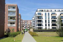 Neubaugebiet auf der Harburger Bahnhofsinsel - Wohnhäuser.