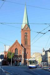 Neue Gertrudenkirche in Riga; erbaut 1903 bis 1905 im Baustil der Neoromanik nach Plänen des Architekten Wilhelm v. Stryk.