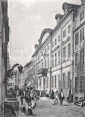 Blick in den Neuenwall zum Hamburger Görtz Palais, ca. 1840. Pferdekutschen und Passanten - Weinhandlung mit Schild.