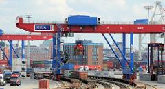 Bahnkran auf dem Containerbahnhof Tollerort in Hamburg Steinwerder.