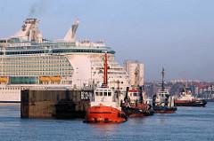 Das Kreuzfahrtschiff Freedom of the Seas wird im Hamburger Hafen eingedockt - Schlepper schliessen das Trockendock.