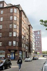 Wohnhaus mit Backsteinfassade - Reste der ursprünglichen Wohnbebauung in Hamburg Hammerbrook.