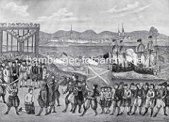 Hinrichtung vom Pirat Klaus Störtebeker 21.10.1401; der Freibeuter wurde zusammen mit 70 Gefährten auf dem Grasbrook in Hamburg geköpft - zur Abschreckung werden die Köpfe der Getöteten am Hinrichtungsplatz aufgenagelt.
