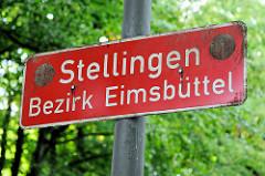 Ortsschild / Stadtteilgrenze Hamburg Stellingen, Bezirk Eimsbüttel.