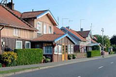 Holzhäuser in Juodkrante, Kurische Nehrung Litauen.