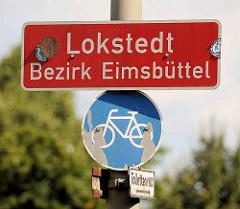 Hamburger Stadtteilschild, Lokstedt - Bezirk Eimsbüttel.