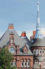 Details der Münzburg im Münzviertel von Hamburg Hammerbrook - 1886 fertiggestellt, Architekt u. Bauherr M. Brekelbaum; Reste der Wohnbebauung des im Krieg zerstörten Stadteils Hammerbrook - seit 1999 unter Denkmalschutz.