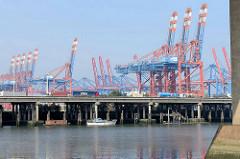 Blick über den Rugenberger Hafen zur Autobahn A7 und den Containerkränen am Waltershofer Hafen in der Hansestadt Hamburg.