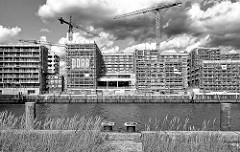 Blick zu den Baustellen am Versmannkai im Hamburger Baakenhafen; im Vordergrund Streichdalben und Eisenpoller / Wildkraut am Petersenkai.
