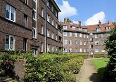 Expressionistische Wohnanlage Heimat im Gazellenkamp / Stellinger Chaussee, Hamburg Lokstedt. Siedlungsbau der 1920er Jahre - Architekten Eduard und Ernst Theil, seit 2003 unter Denkmalschutz.