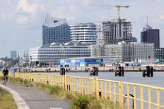 Metallgeländer am Holthusenkai an der Elbe auf dem Kleine Grasbrook - auf der gegeüber liegenden Elbseite die moderne Architektur und Kreuzfahrtterminal der Hamburger Hafencity.