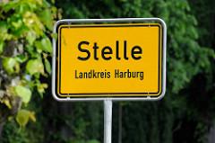 Ortsschild von Stelle, Landkreis Harburg.