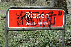Stadtteilschild von Hamburg Rissen, Bezirk Altona.