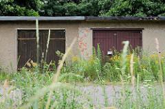 Alte Garagen mit Holztüren - hohes, blühendes Wildkraut hat die Einfahrten überwuchert - Bilder aus Torgau / Elbe.